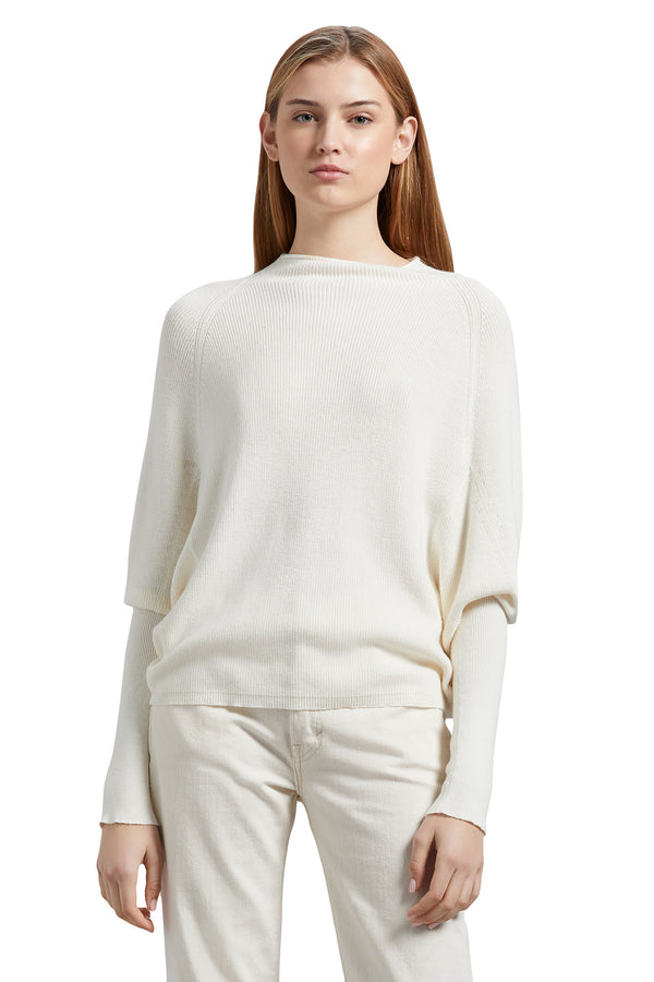 White ribbed cotton blend sweater from Michael Stars