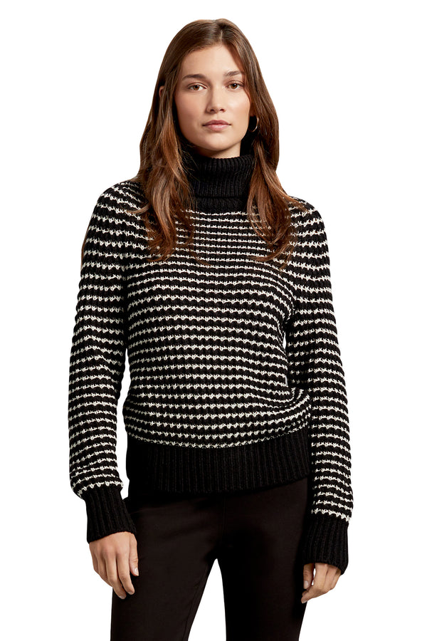 Black and white striped turtleneck sweater from Michael Stars