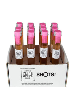 12-pack of 1.5 oz shots of Annie's Ginger Elixir