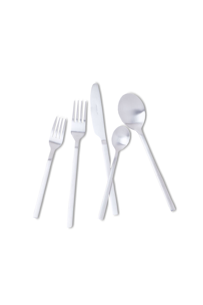 Stainless steel Apsel Brushed Stainless Flatware Set by Hudson Wilder