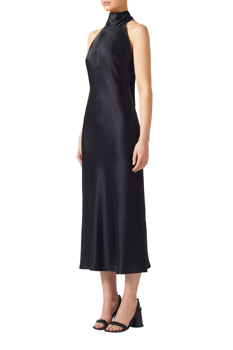 Black Cropped Satin High Neck Dress by Galvan London