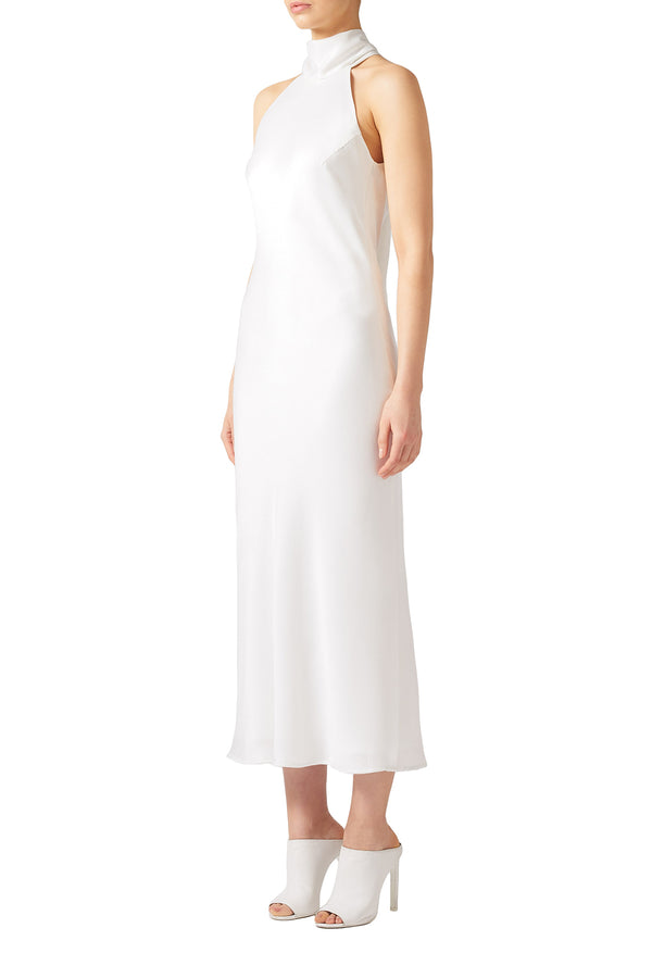 White Cropped Satin High Neck Dress by Galvan London