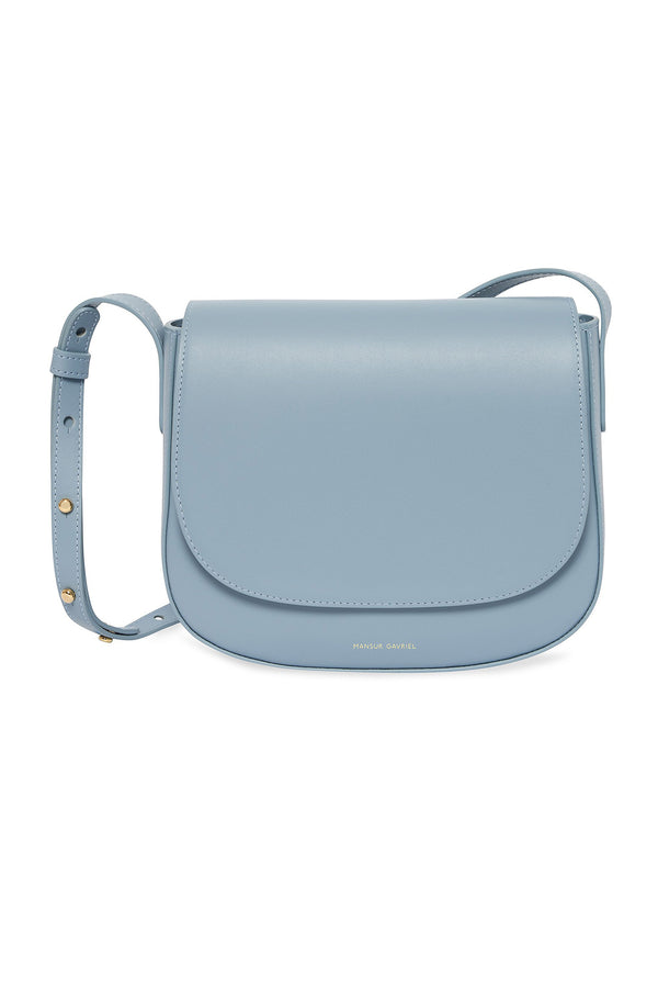 Blue Leather Small Crossbody with Magnetic Closure by Mansur Gavriel