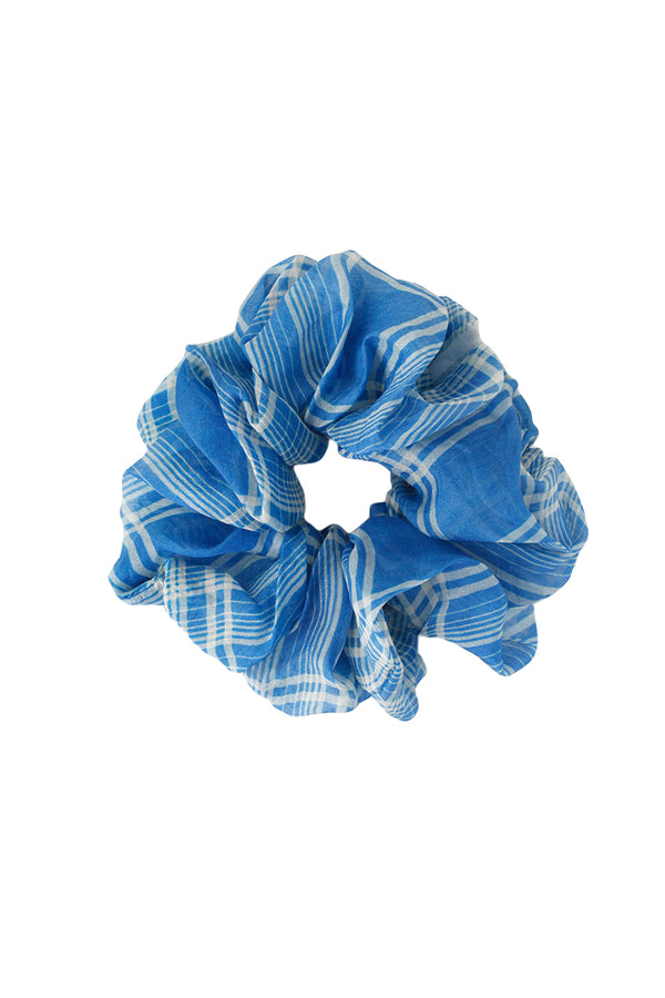 Blue Plaid Scrunchie by Chan Luu