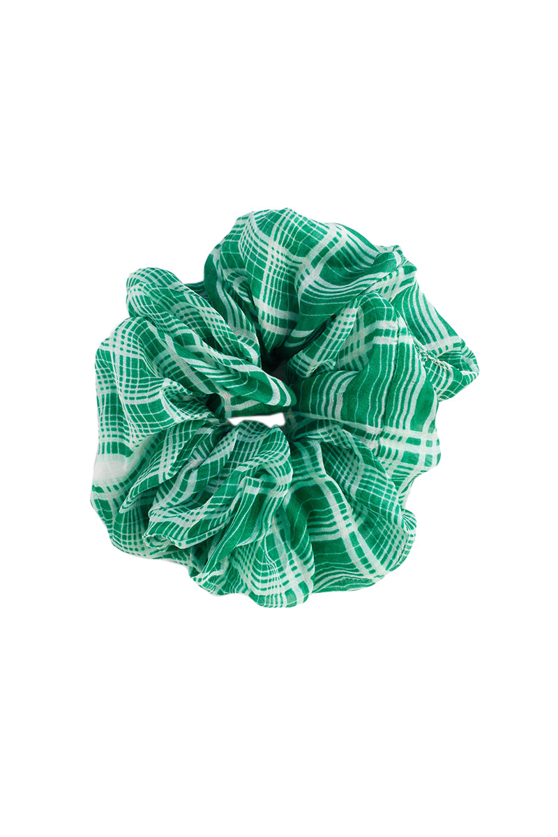 Green Plaid Scrunchie by Chan Luu
