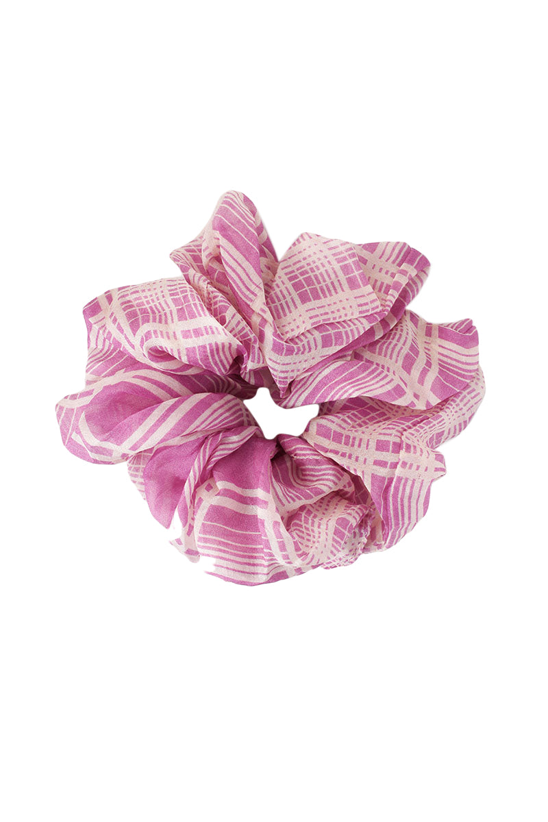 Pink Plaid Scrunchie by Chan Luu