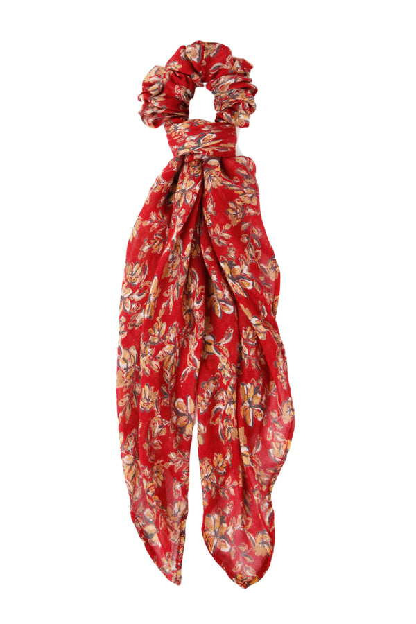 Red Floral Scrunchie Bandana by Chan Luu