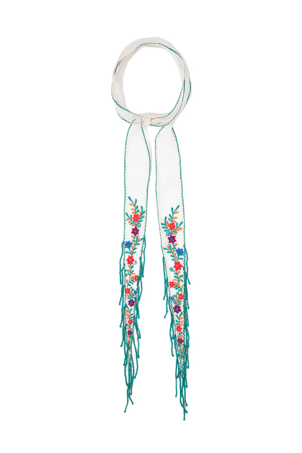 Floral Embroidered Short Skinny Scarf in Seed Pearl by Chan Luu