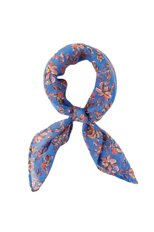 Blue Painterly Floral Neckerchief by Chan Luu