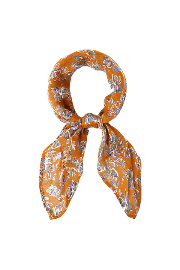 Yellow Painterly Floral Neckerchief by Chan Luu