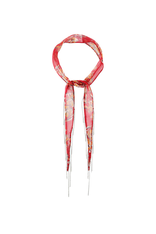 Red floral print Short Skinny Scarf by Chan Luu