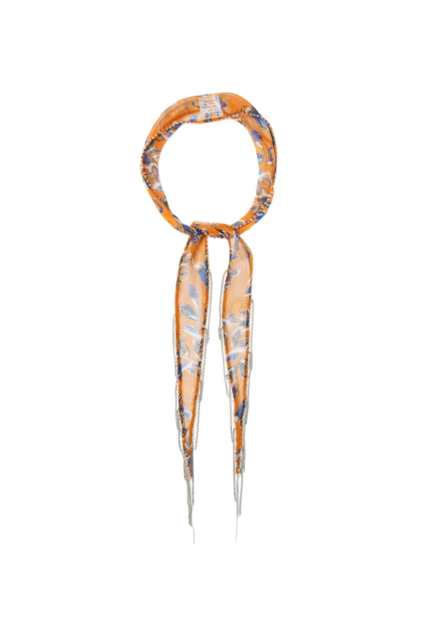 Yellow floral print Short Skinny Scarf by Chan Luu