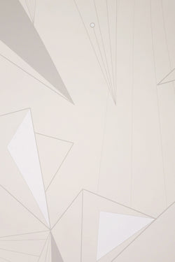 Neutral geometric DecoPrism Wall Paper by Michele Varian