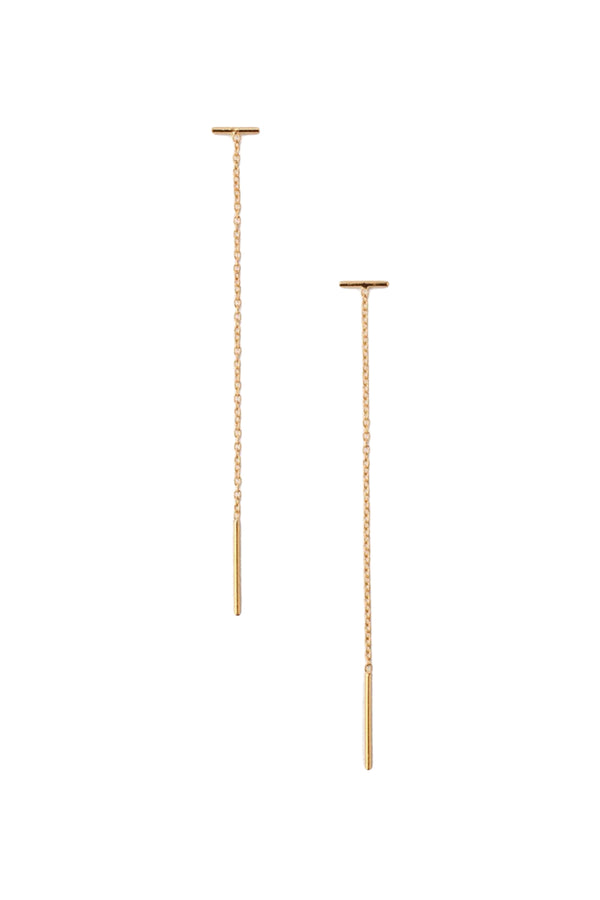 Gold Bar Chain Thread Earrings by Chan Luu