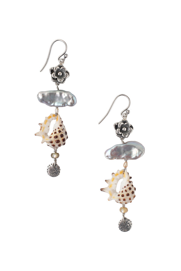 Sterling silver Tiered Shell Earrings by Chan Luu