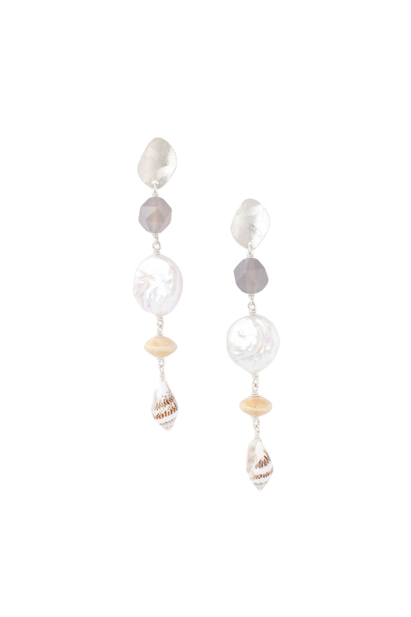 Silver Tiered Sea Charm Earrings by Chan Luu