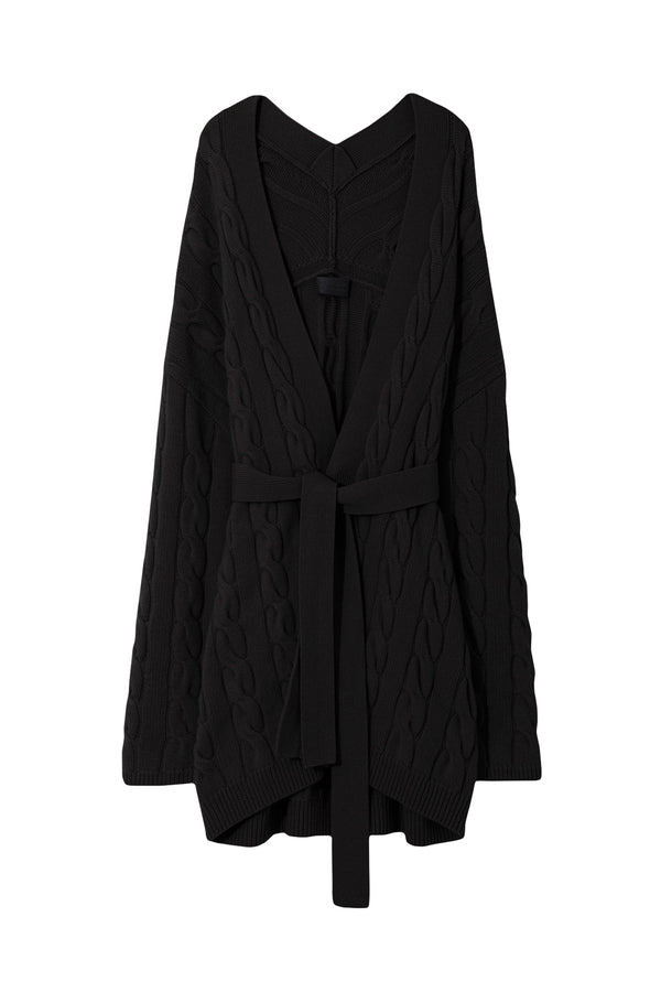 Black cable knit cashmere cardigan from Nili Lotan