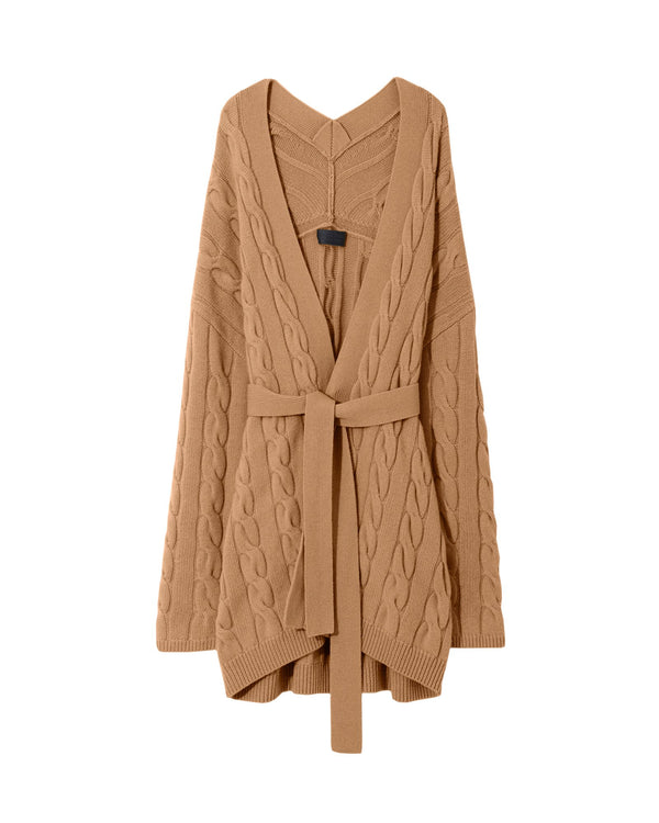 Tan cable knit cashmere cardigan from Nili Lotan