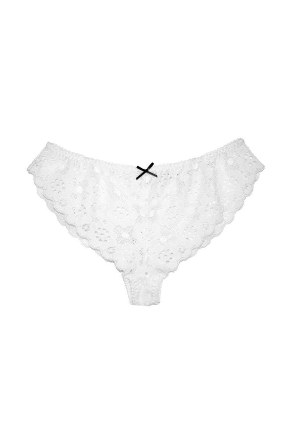 White Crochet Lace Cheeky by Fleur du Mal
