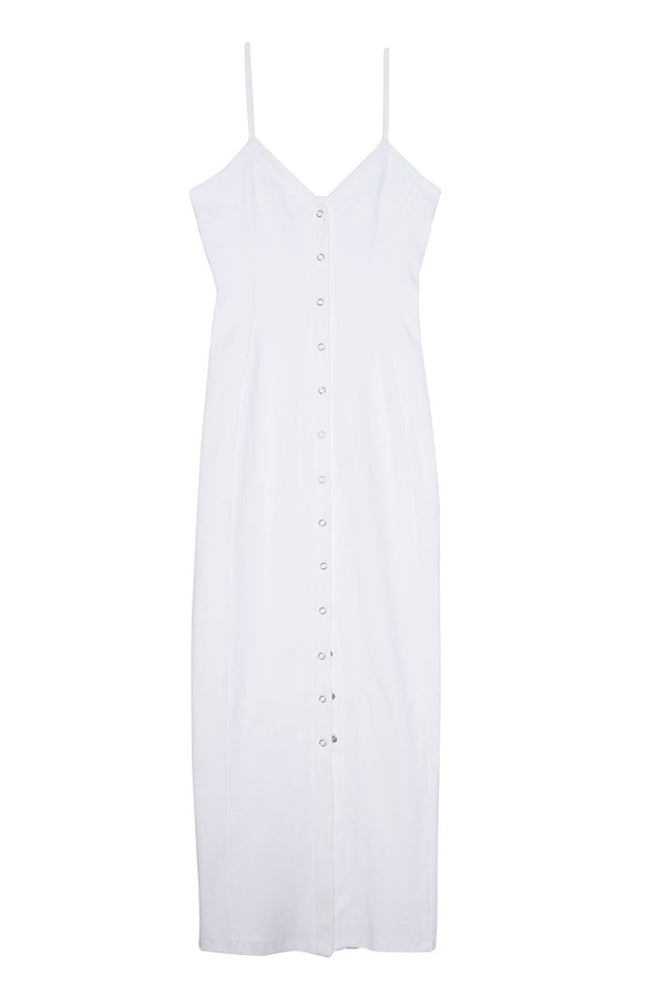White Front Snap Dress by Fleur du Mal
