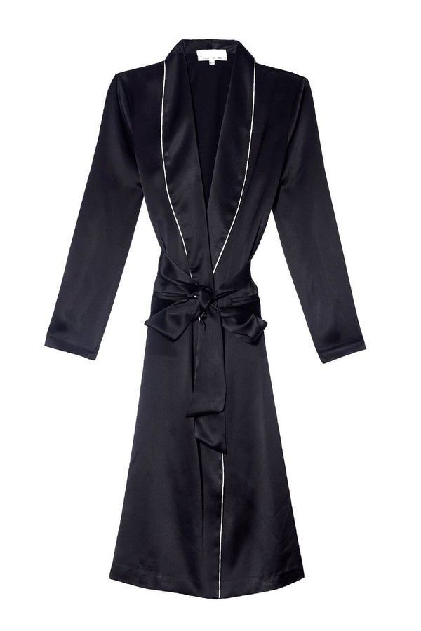 Black Long Smoking Robe by Fleur du Mal