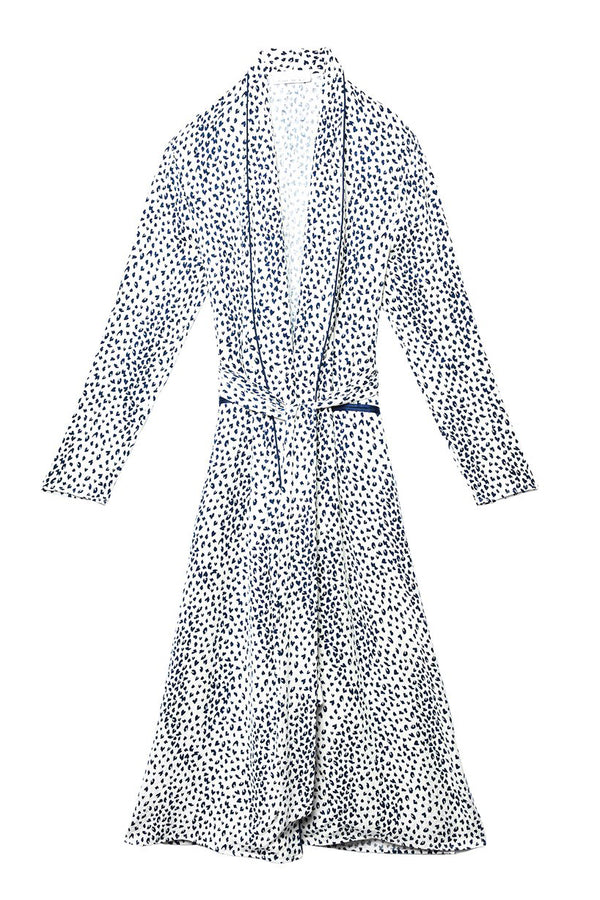 Ivory Leopard Long Smoking Robe by Fleur du Mal