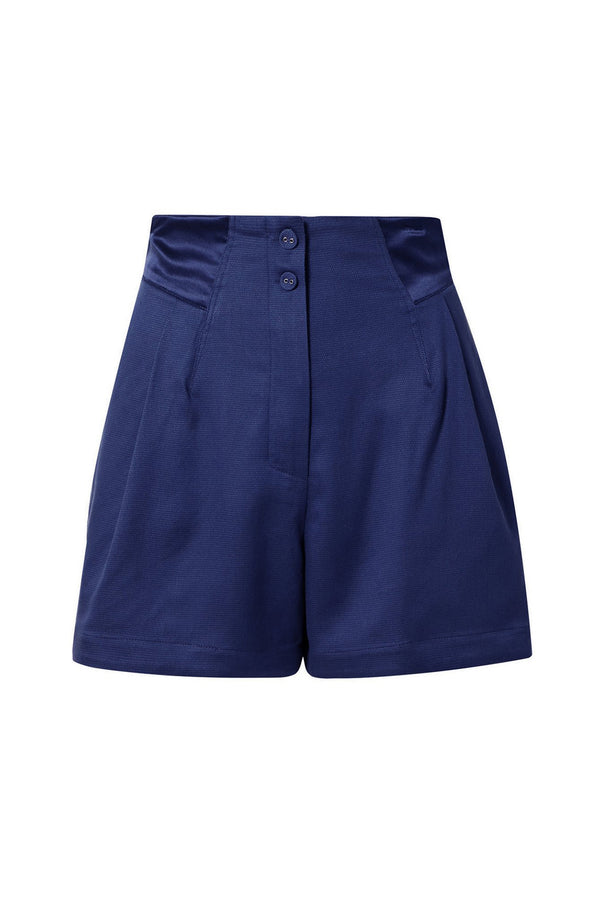 Navy Pleated Shorts by Fleur du Mal