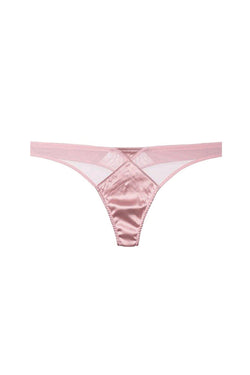 Pink Satin Top Stitch Thong by Fleur du Mal