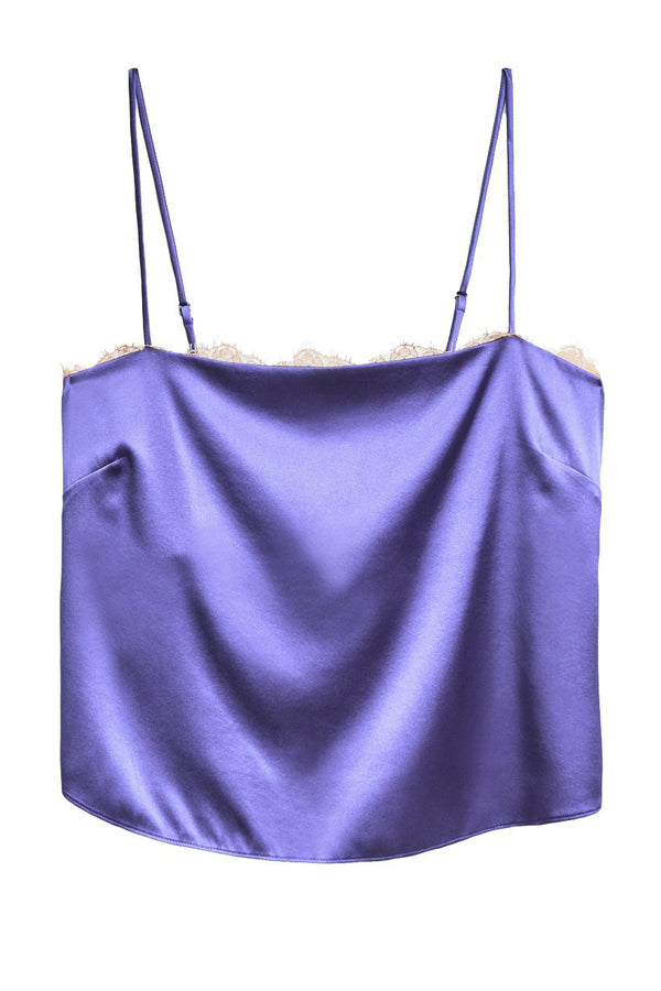 Purple Straight Neck Cami with Lace Trim by Fleur du Mal