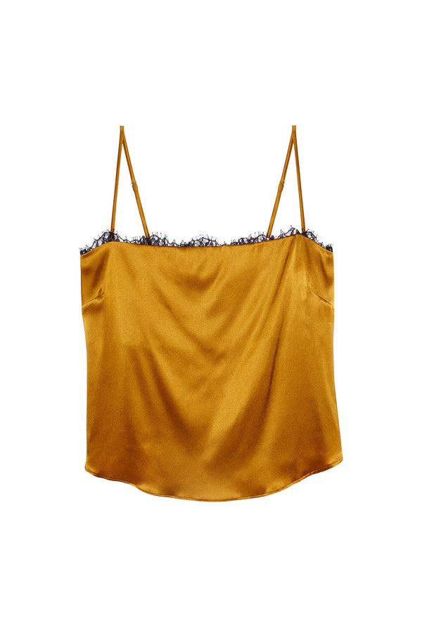Gold Straight Neck Cami with Lace Trim by Fleur du Mal