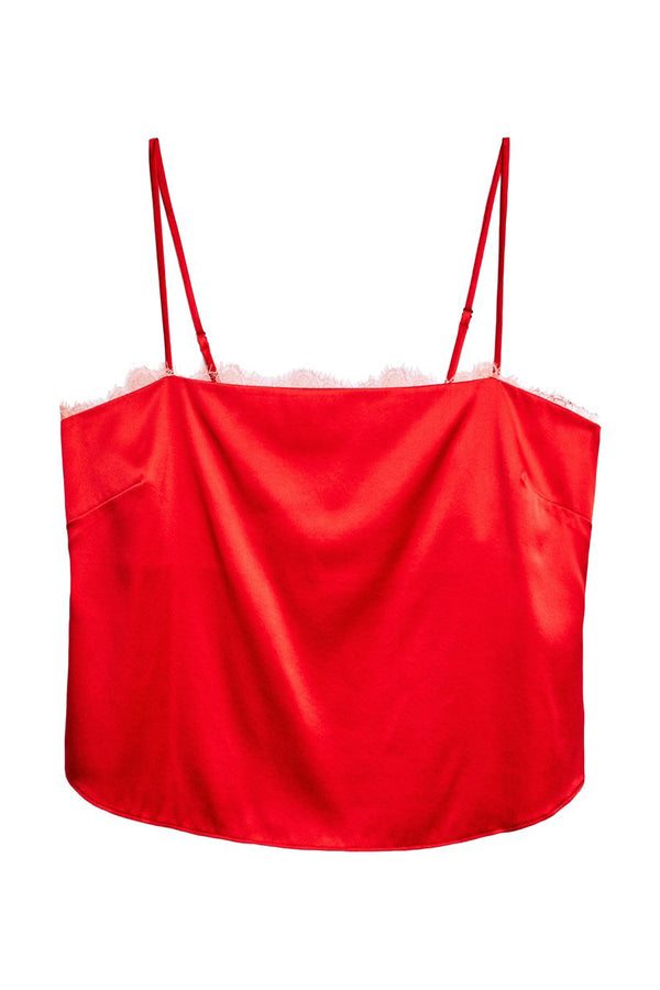 Red Straight Neck Cami with Lace Trim by Fleur du Mal