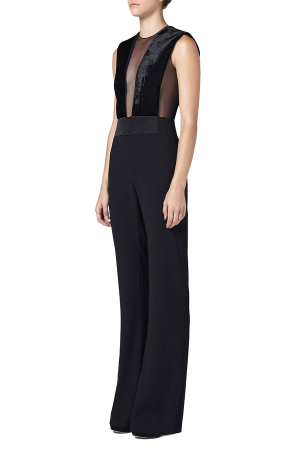 Black Sheer Bodice Jumpsuit with Corduroy Velvet Slim-leg Trousers by Galvan London