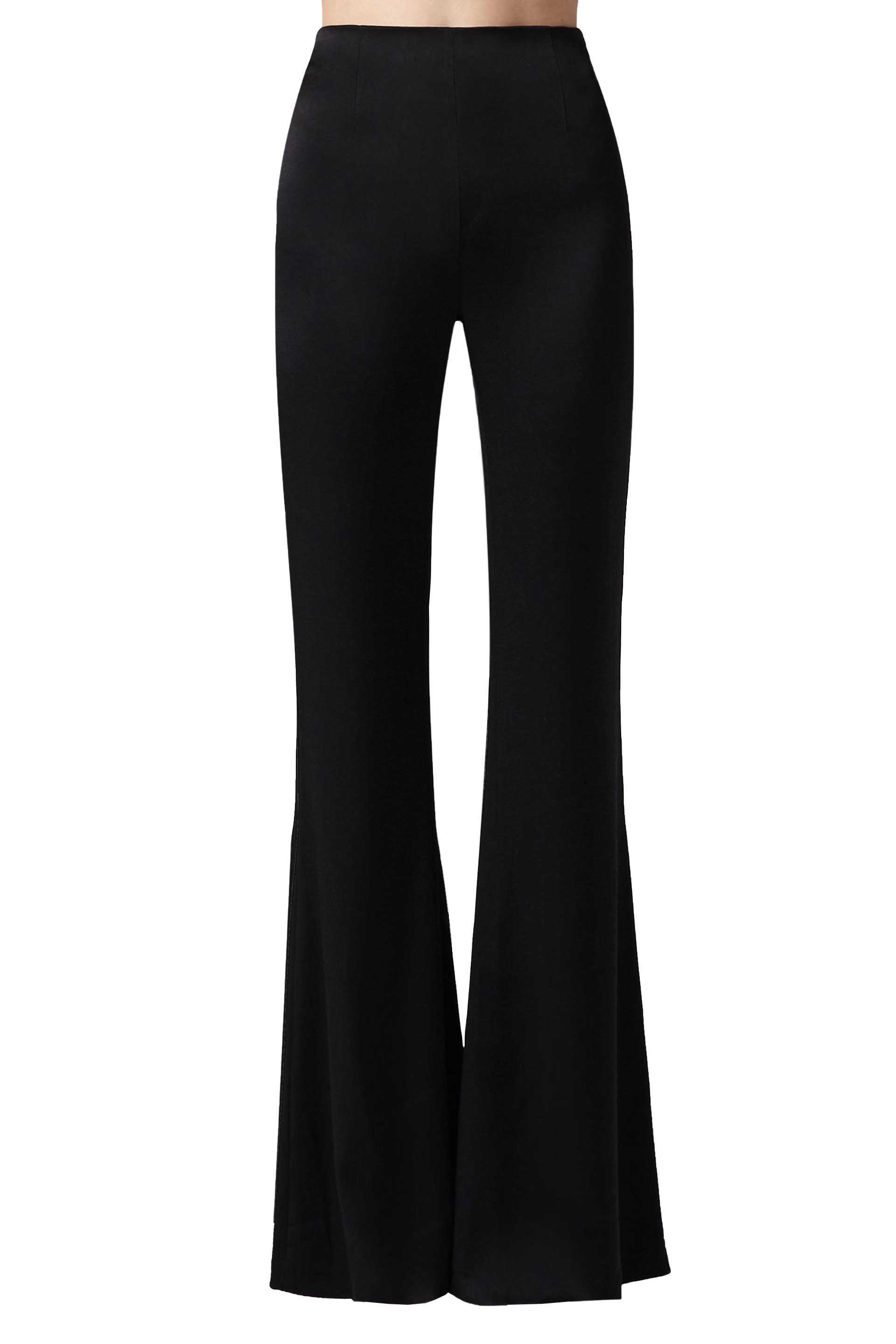 High Waisted Satin Trousers in Black