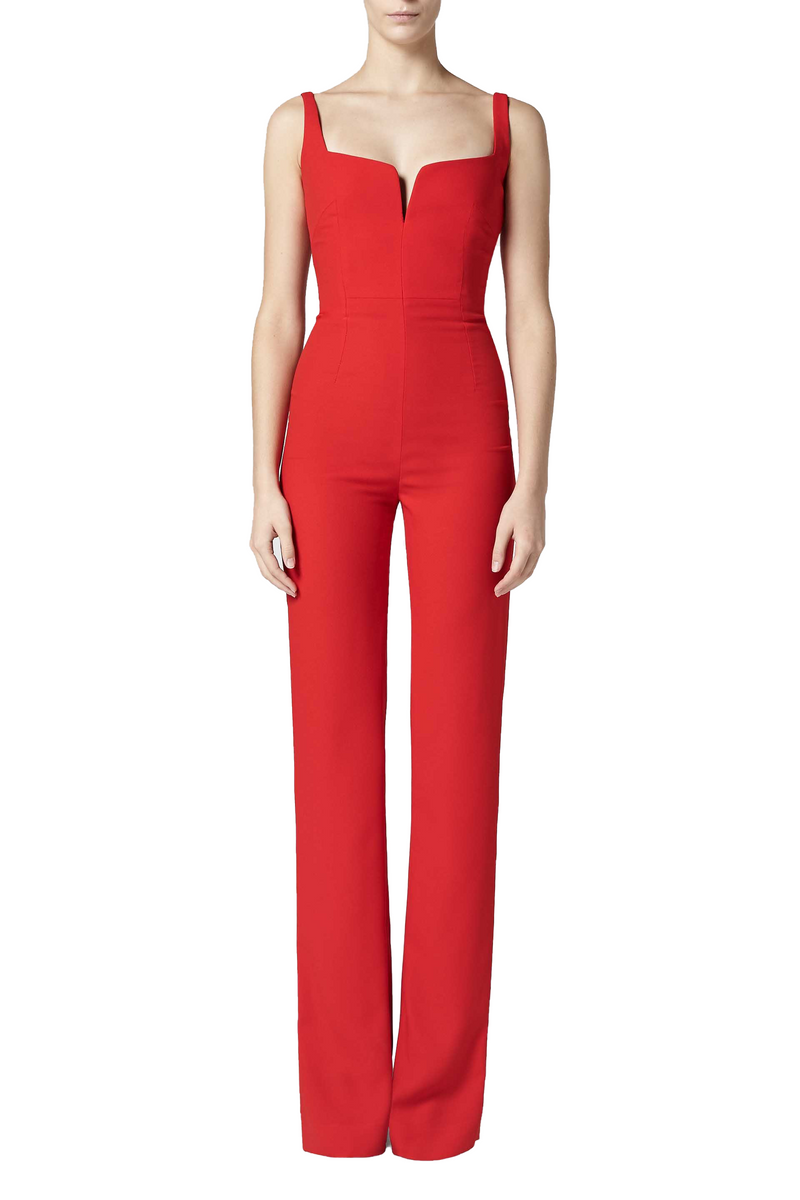 Red Wide Leg Exposed Décolleté Jumpsuit by Galvan London