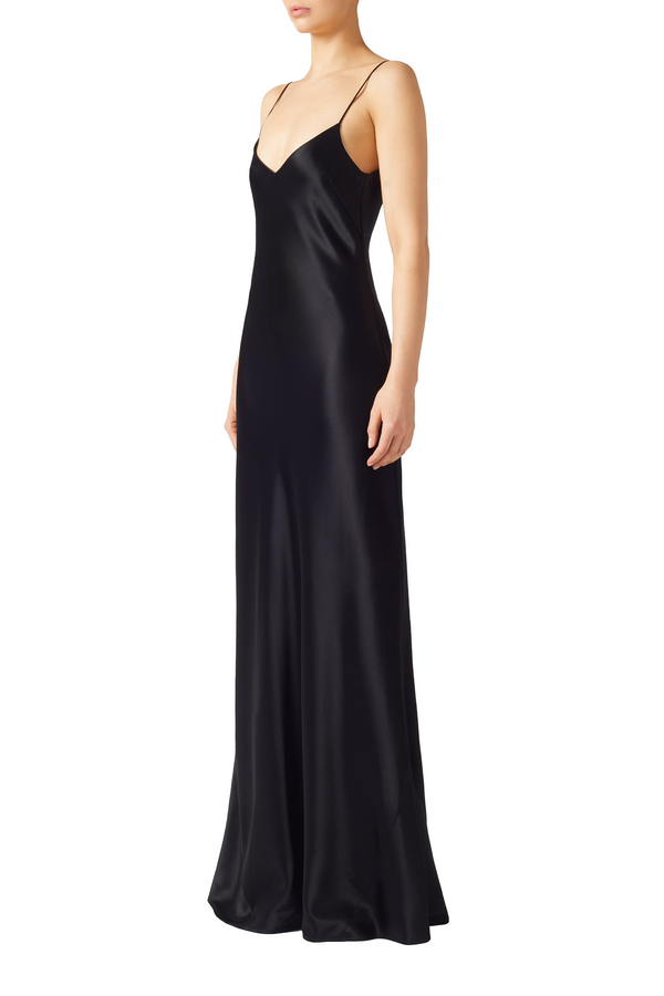 Black V-Neck slip dress by Galvan London