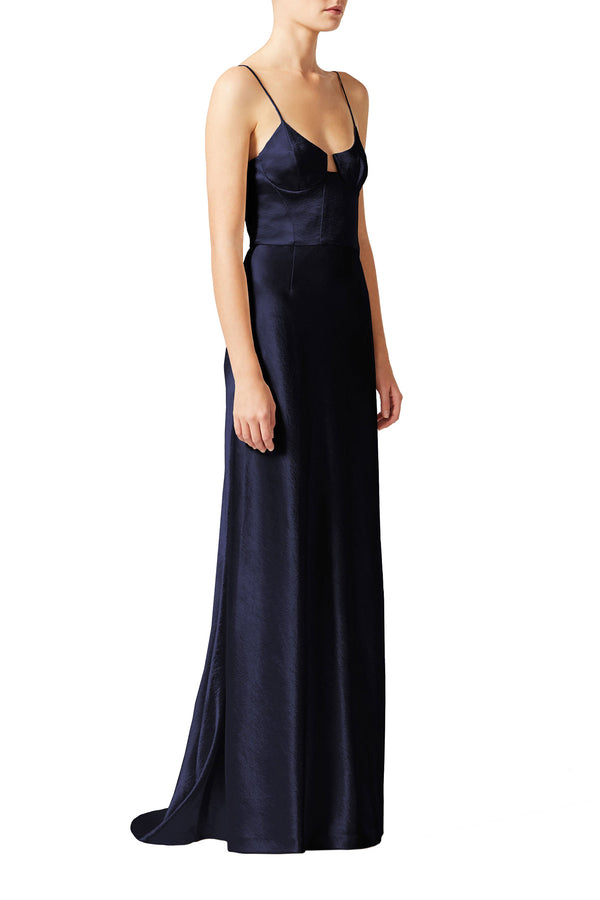 Midnight floor-length evening gown with bodice by Galvan London