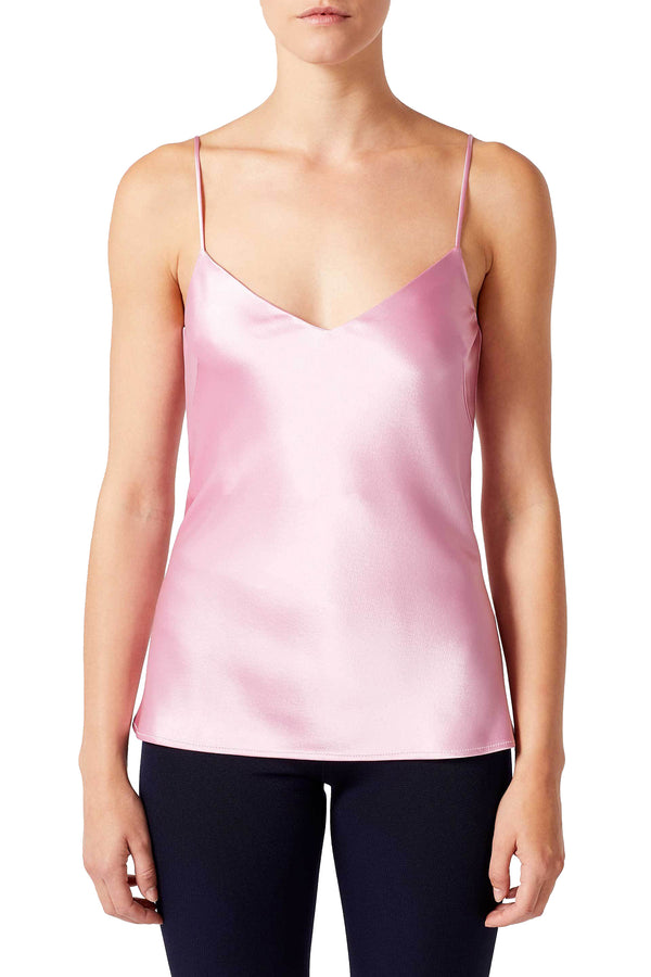 Glossy rose satin camisole by Galvan London