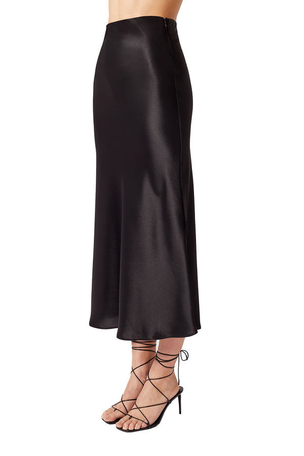 Black calf-length satin dress by Galvan London