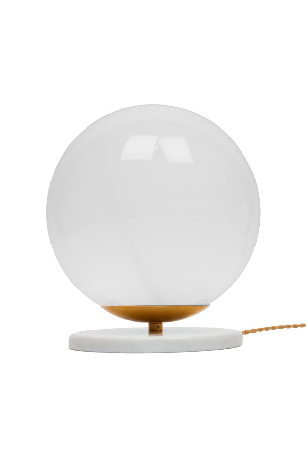 White and brass Large Globe Table Lamp by Michele Varian