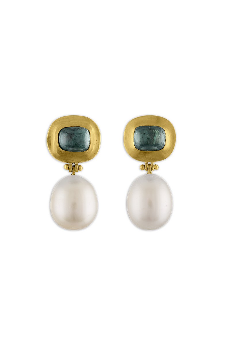 Green Tourmaline and Pearl Hinge gold Earrings by Prounis Jewelry