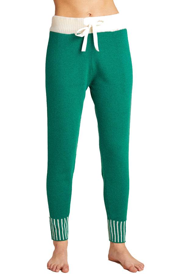 Green cashmere sweatpants with white stripe from Morgan Lane