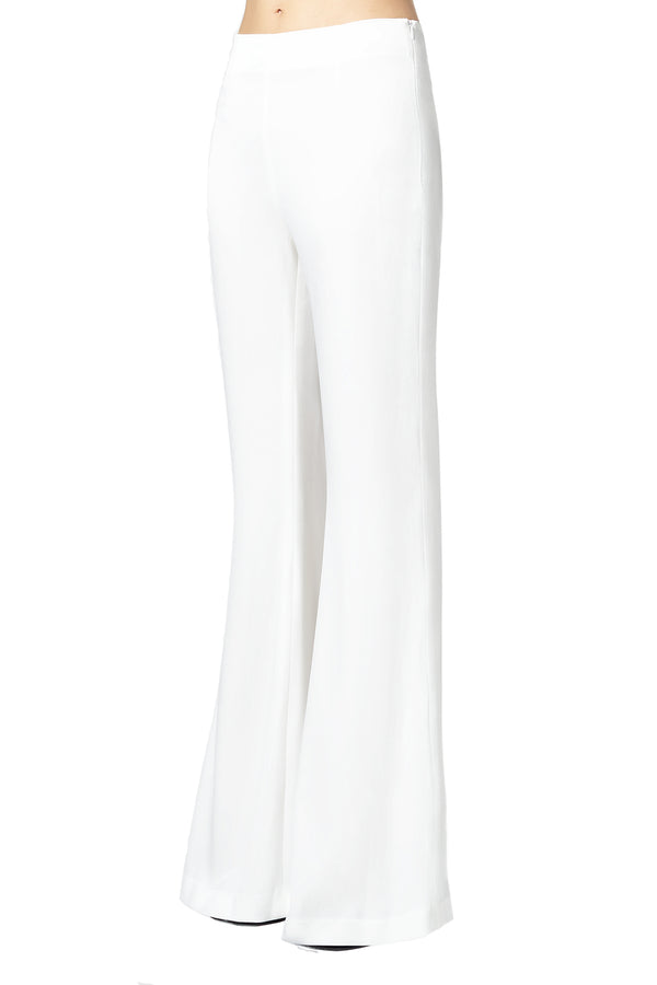 White High Waisted Satin Trousers by Galvan London
