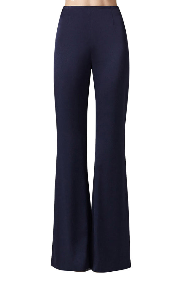 High Waisted Satin Trousers in Midnight | Galvan London
