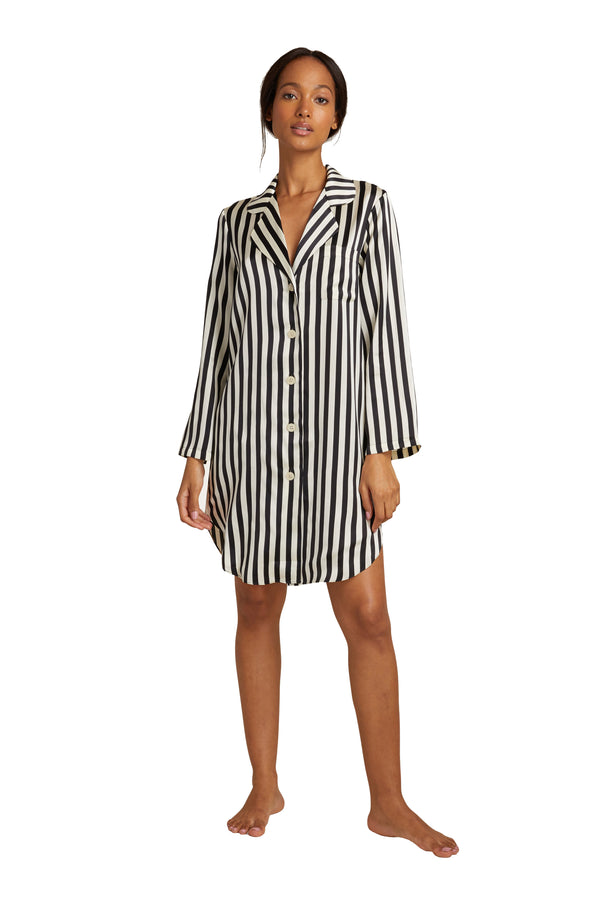 Black and white striped silk night shirt from Morgan Lane