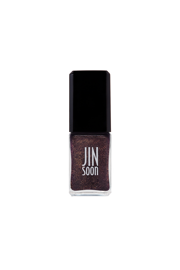 Purple nail polish with gold glitter in Farrago by JINsoon