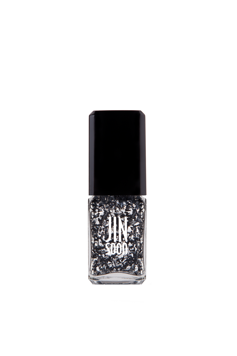 Soirée black and silver confetti nail polish by JINsoon