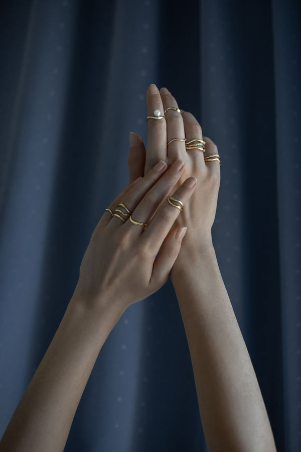 Model wearing Feminine Waves Set of 2 Pave Rings | Joanna Laura Constantine