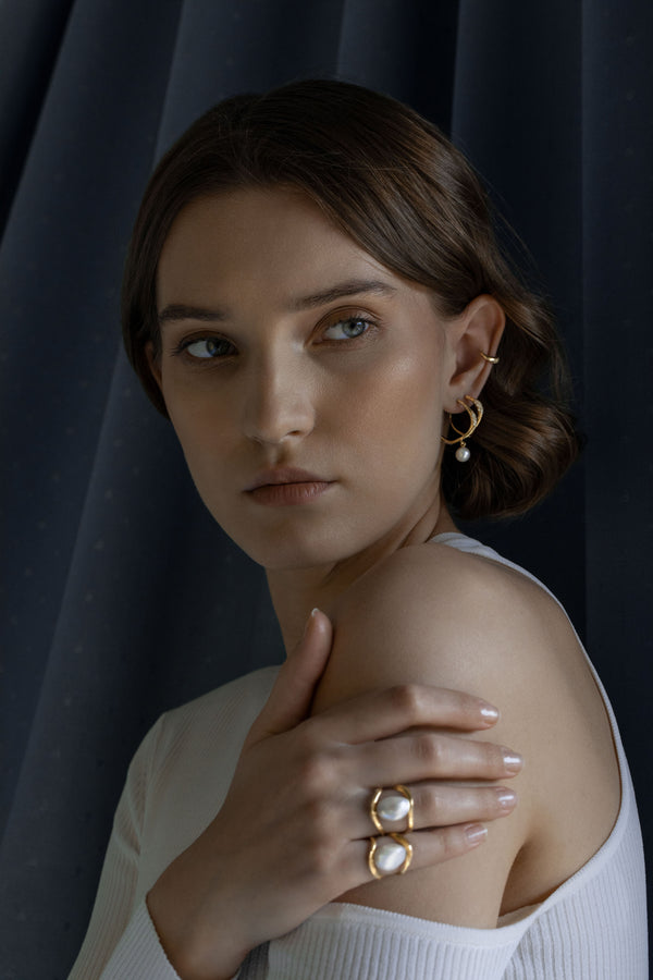 Model wearing Set of 3 Feminine Waves Pave Hoop Ear Set | Joanna Laura Constantine