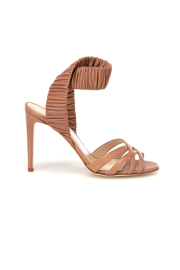 Tan leather Julianne heel by Chloe Gosselin