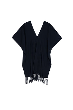 Black Jaya Hand-Tied Fringe Tunic by Pondicherie